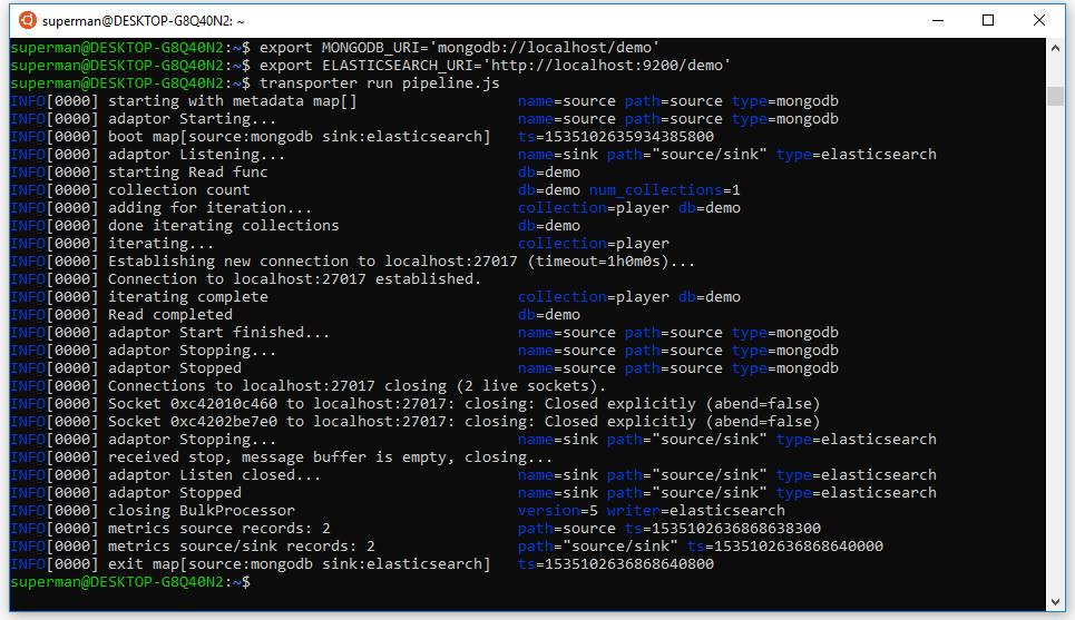 chạy file pipeline.js để chuyển dữ liệu từ mongodb sang elasticsearch