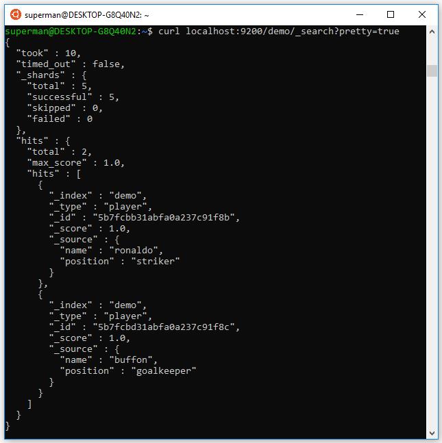 Kiểm tra lại dữ liệu trên elasticsearch bằng lệnh: