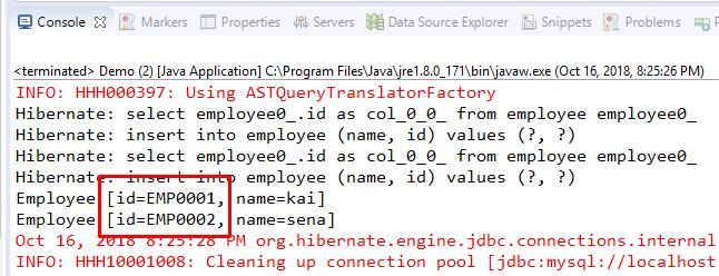 Code ví dụ Hibernate tự sinh ID dạng text, String