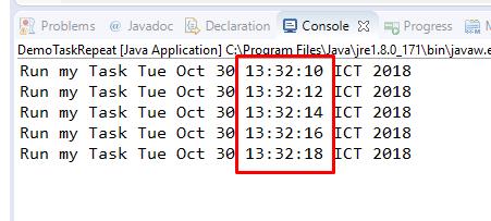 Code ví dụ java timer, timertask