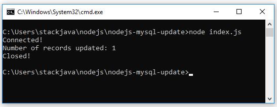 Code ví dụ Node.js MySQL Update (sửa row, records)