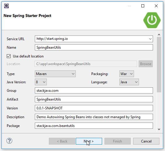 Code ví dụ Spring Boot Inject bean ApplicationContextAware