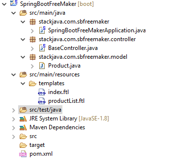 Code ví dụ Spring Boot FreeMarker hello world + Eclipse + Maven