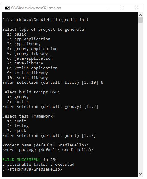 Hướng dẫn tạo Gradle Project Java bằng dòng lệnh cmd