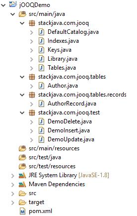 Code ví dụ jOOQ - thêm, sửa, xóa dữ liệu