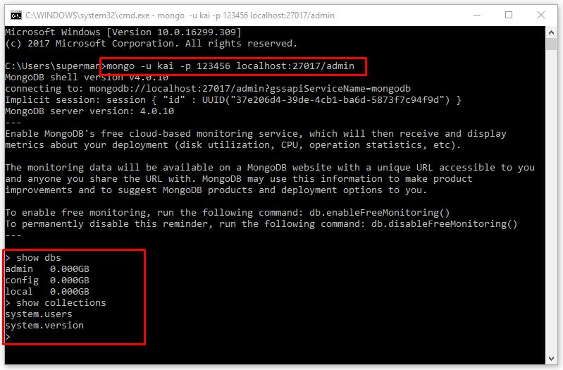 Đăng nhập mongodb với username và password (database mongo)