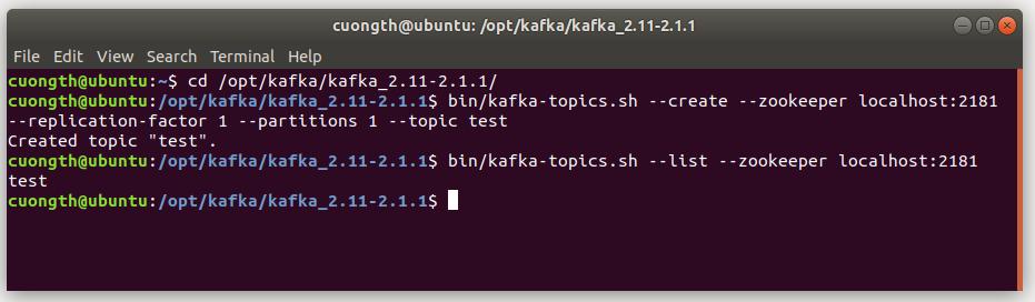 tạo topic trên kafka ubuntu