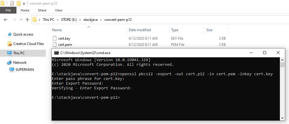 Hướng dẫn chuyển file pem, private key sang p.12 (PKCS#12)