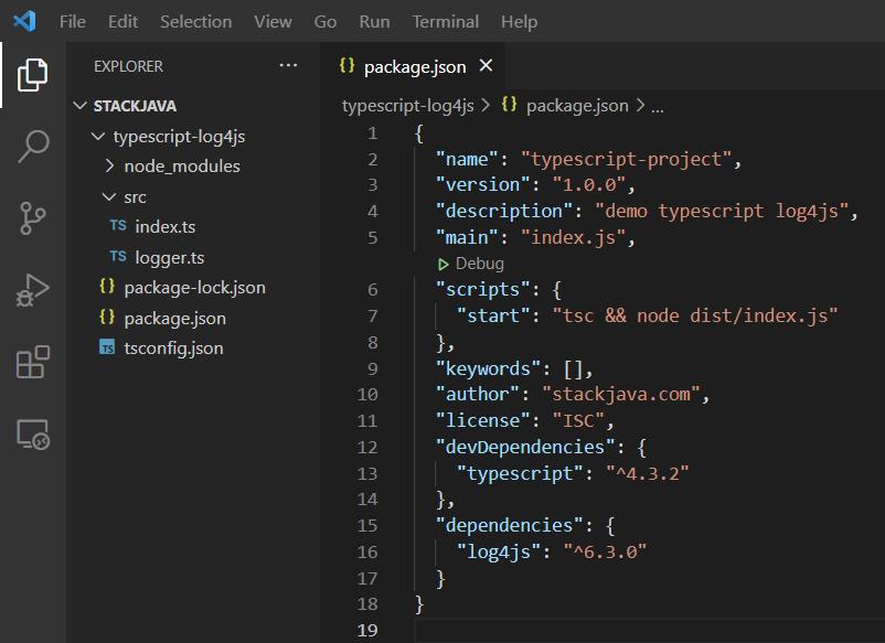Code ví dụ TypeScript logger (ghi log TypeScript với log4js)